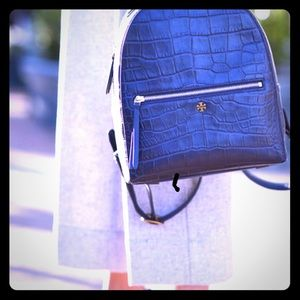 Tory Burch Croco Embossed Leather Backpack